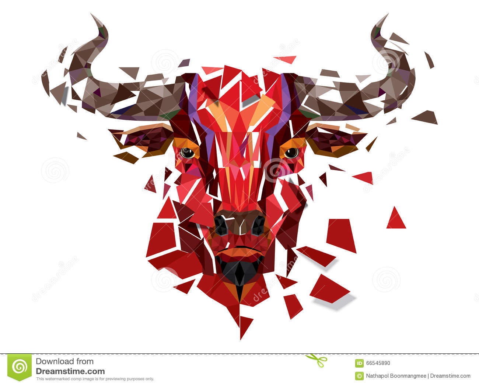 Het lage hoofd van de veelhoek Rode stier met geometrische patroonvector illustr