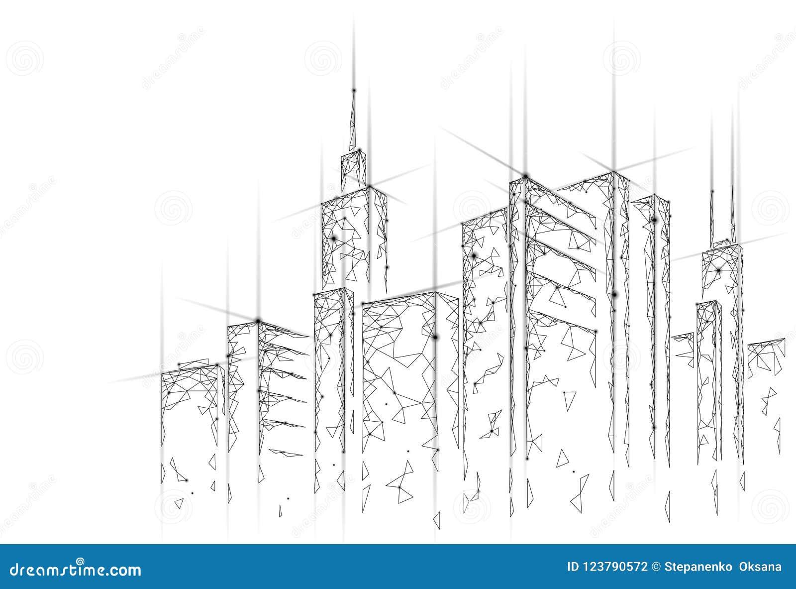 Het lage poly slimme netwerk van de stads 3D draad Intelligent het systeem van de de bedrijfs bouwautomatisering concept Web onli