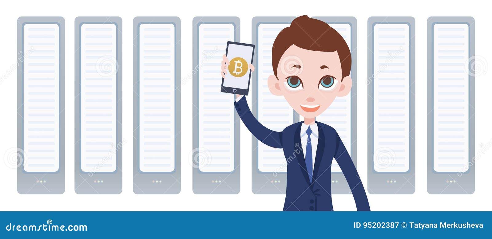 Het landbouwbedrijf en de mens van de Cryptocurrencymijnbouw met in hand smartphone Mobiele bitcoinportefeuille app Vectorillustr