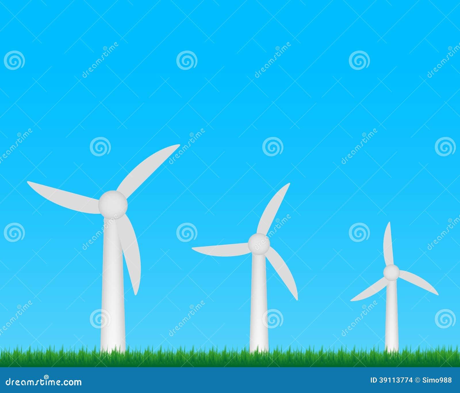 Het landbouwbedrijf van windturbines