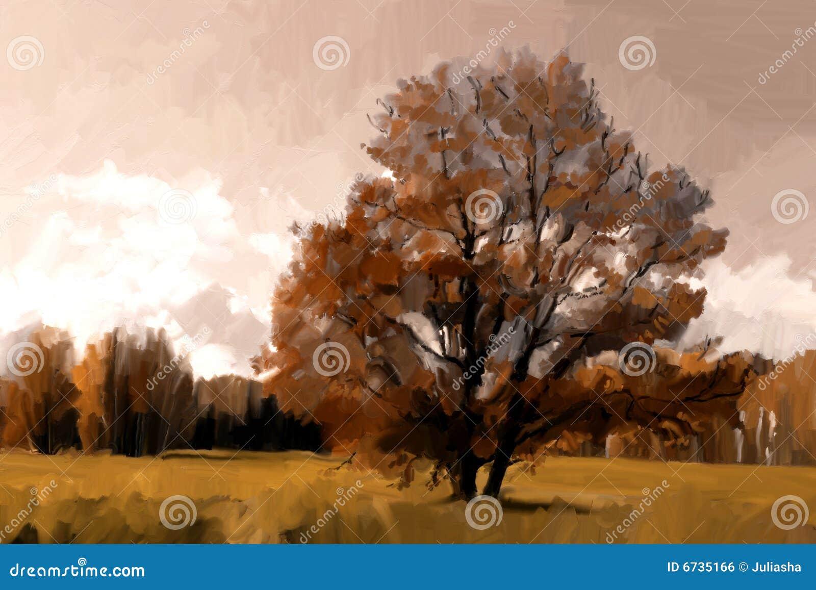 Het landelijke landschap van de herfst