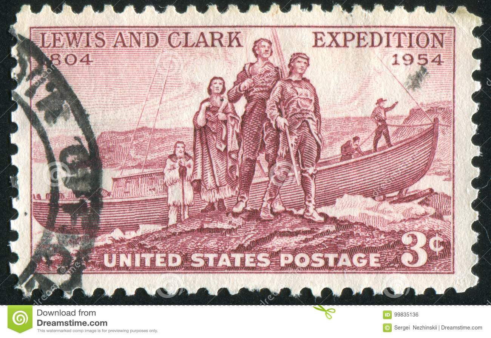 Het landen van de expeditie van Lewis en van Clark