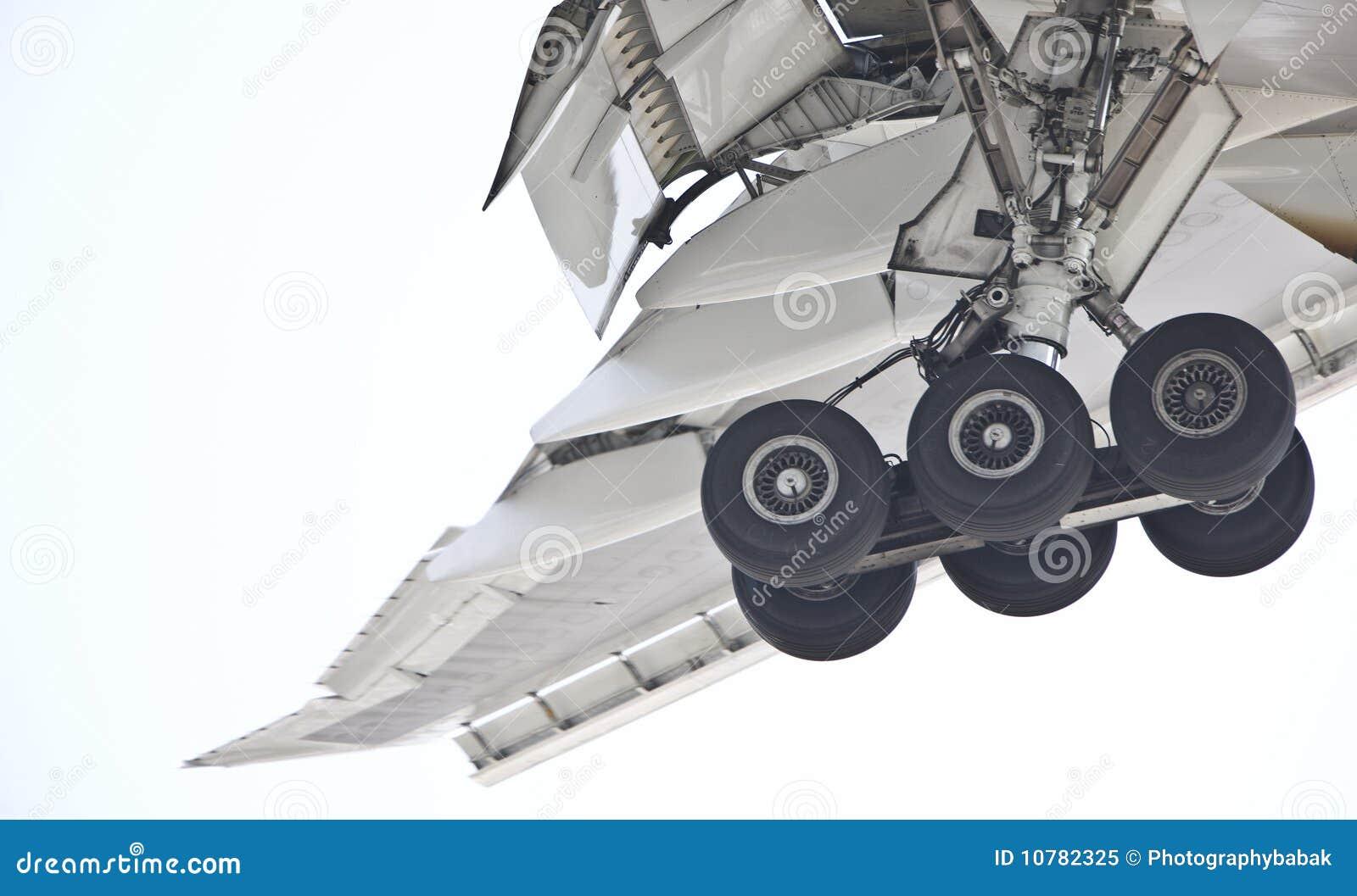 Het landingsgestel van het vliegtuig