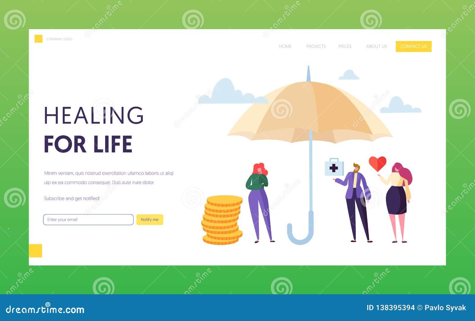 Het Landingspaginaconcept van de familie Medisch Levensverzekering De Veiligheid van het vrouwenkarakter onder Paraplu Geneeskund