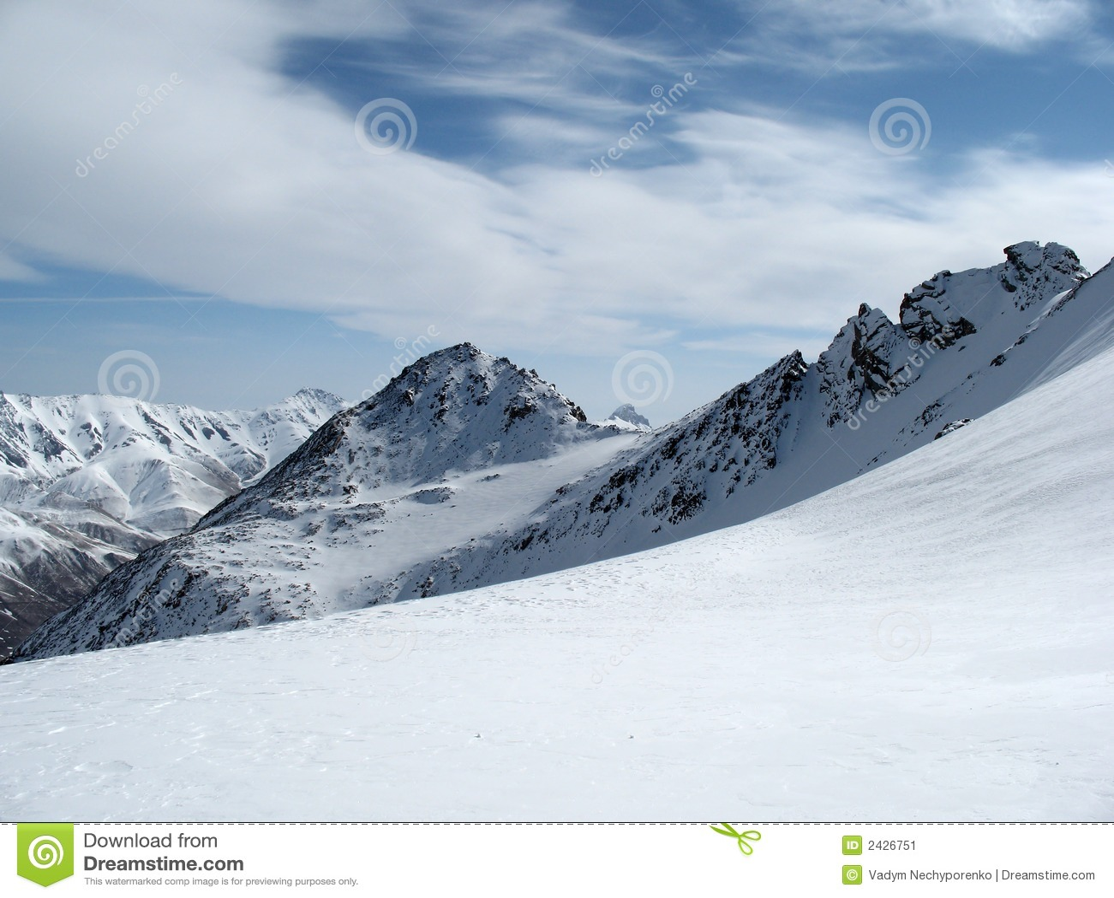 Het landschap de Kaukasus van bergen