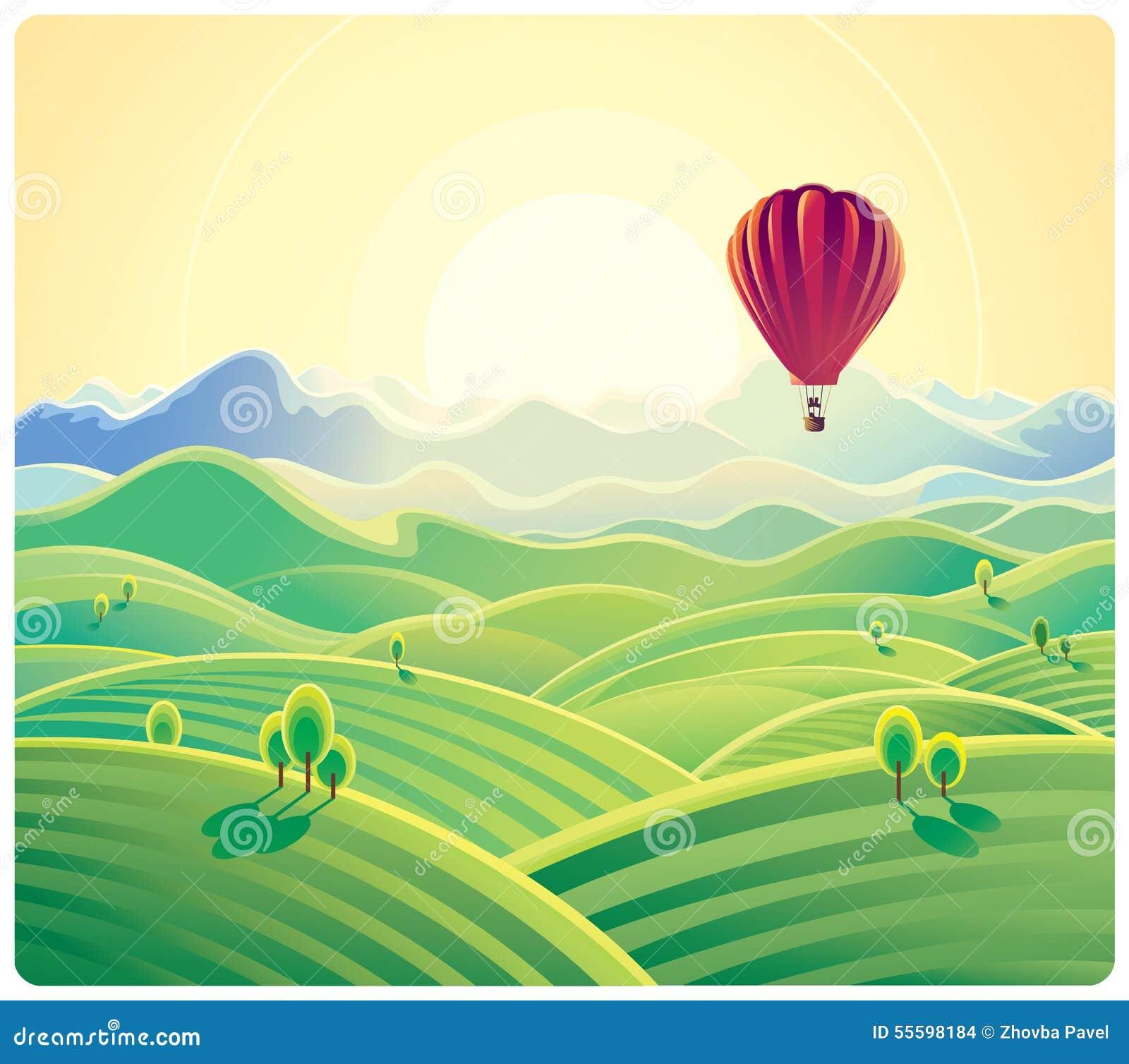 Het landschap en de ballon van de bergzomer