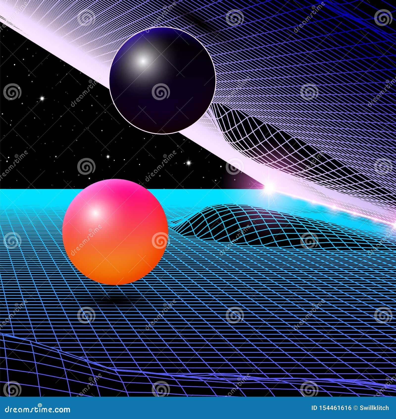 Het landschap met wireframenet van de jaren  80 stileerde retro computerspel of wetenschaps 3d structuur als achtergrond met rode