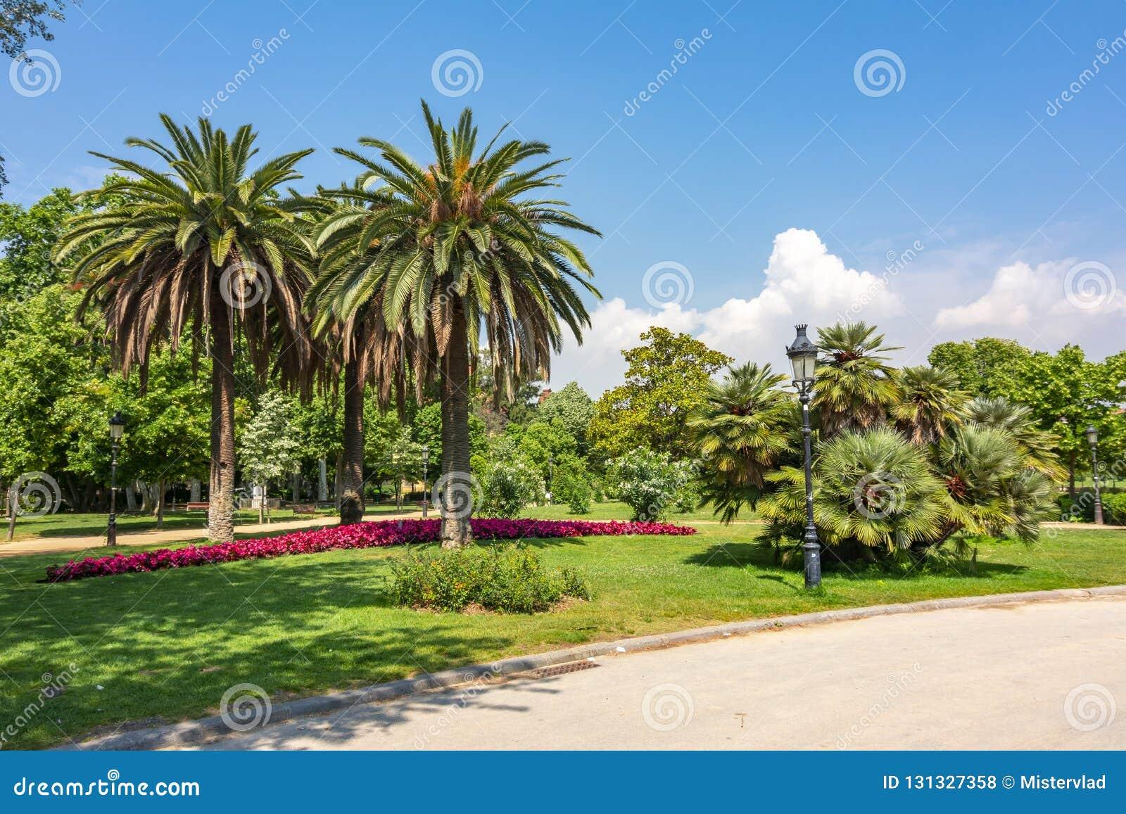 Het landschap van het Ciutadellapark, Barcelona, Spanje