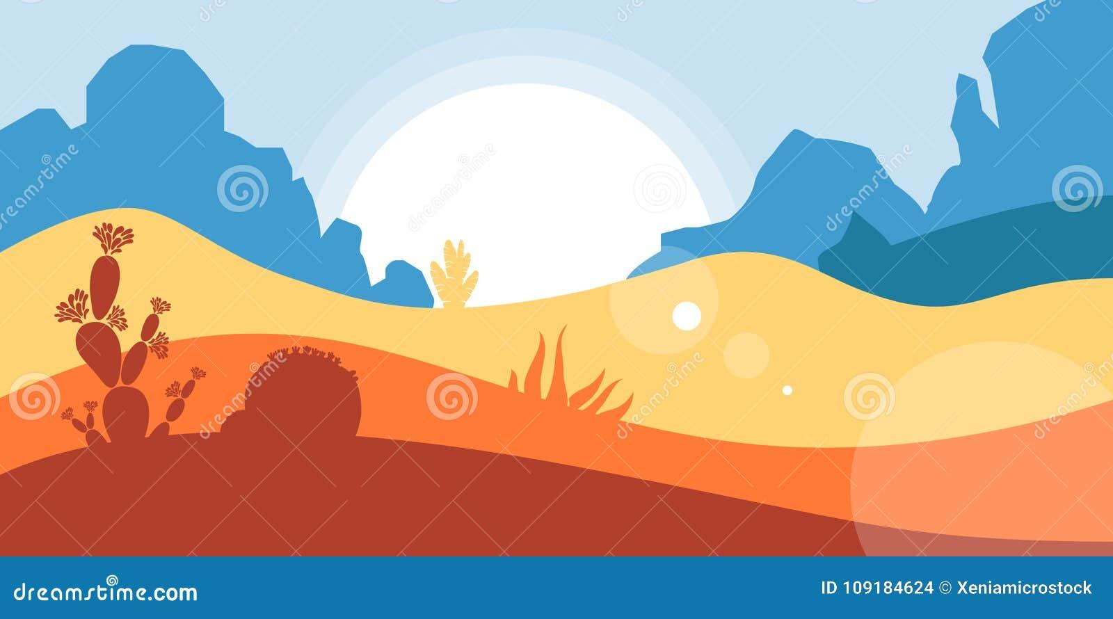 Het landschap van de Amerikaanse woestijn met bergen en canions, cactussen en succulents Behoud van het milieu, ecologie, t