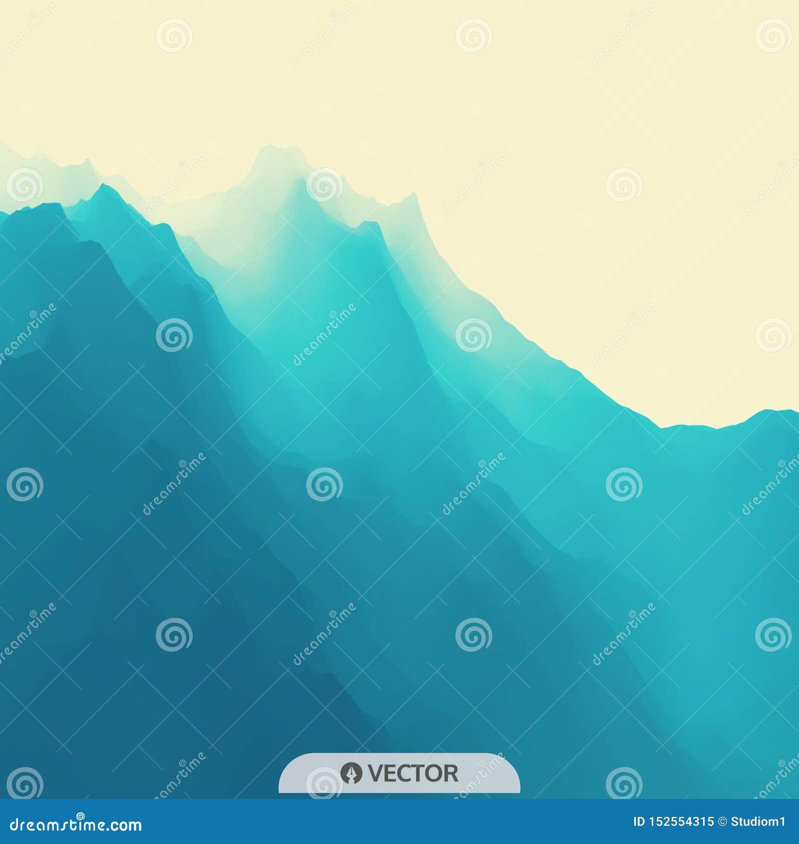 Het landschap van de berg Bergachtig terrein Vector illustratie abstracte achtergrond
