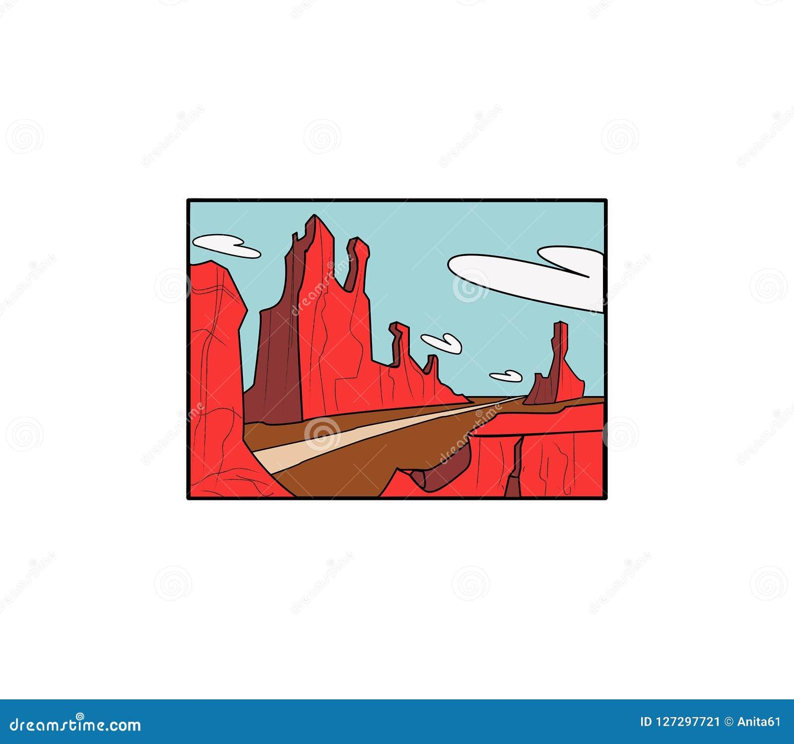 Het landschap van de Cartoonywoestijn met weg en toppen
