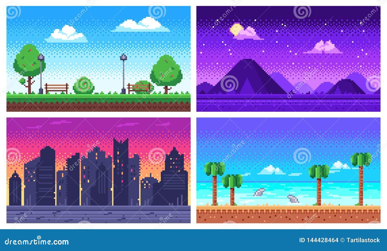 Het landschap van de pixelkunst De zomer oceaanstrand, stadspark met 8 bits, pixelcityscape en de vector van het de arcadespel va