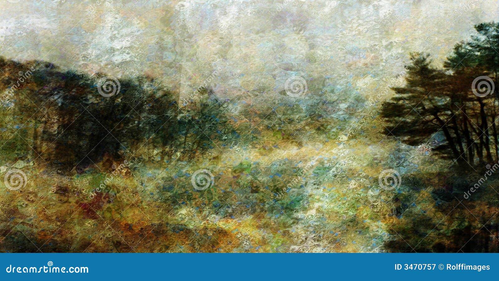 Het landschap van de stijl van de impressionist stock illustratie afbeelding 3470757 - Decoratie stijl van de bergen ...
