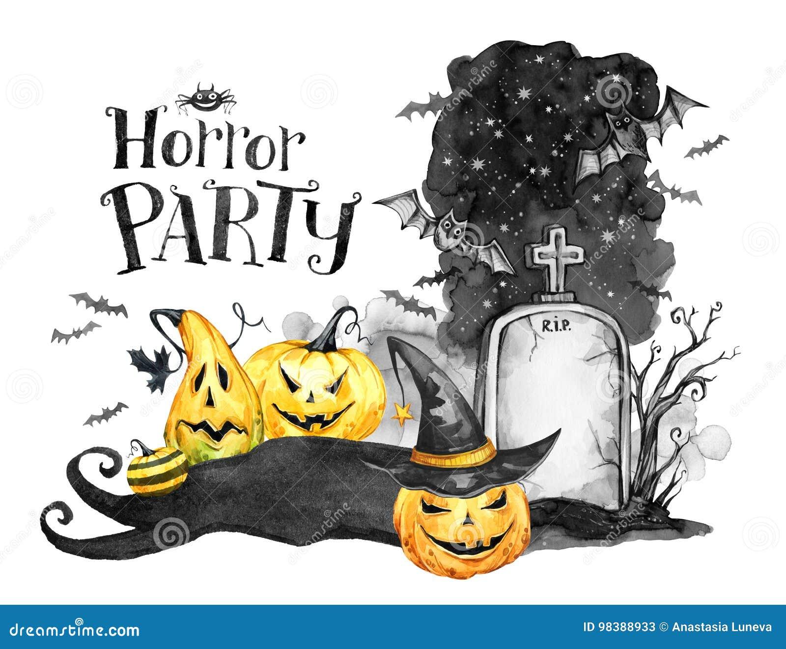 Het landschap van de waterverf Oud graf, vakantiepompoenen en troep van knuppels Halloween-vakantieillustratie Magisch, symbool v