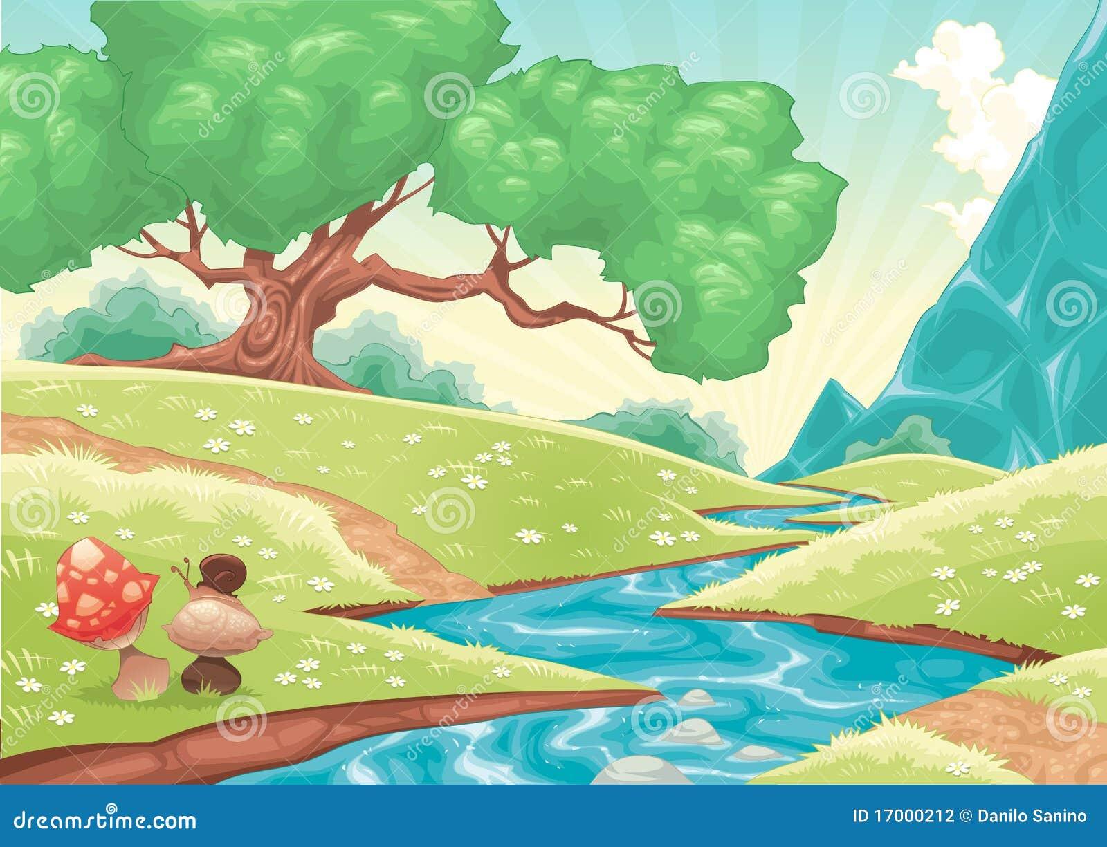 Het landschap van het beeldverhaal met stroom