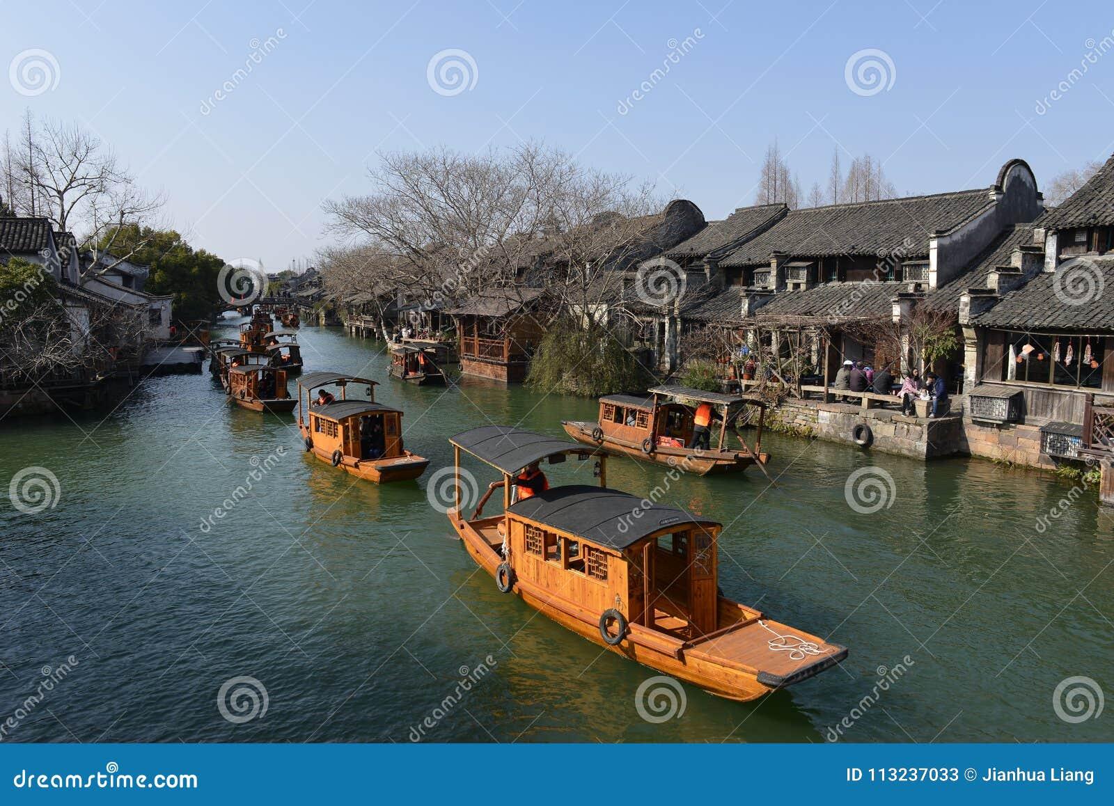 Het landschap van Wuzhen-stad in Zhejiang, China