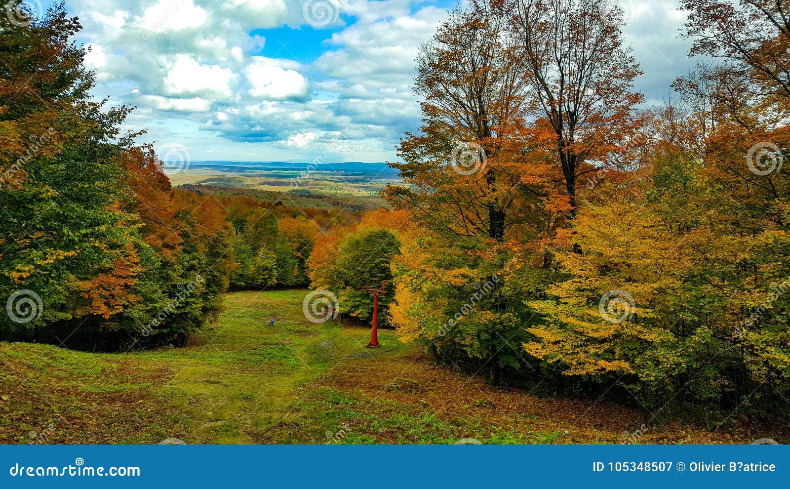 Het landschap zet orford magog Québec Canada op