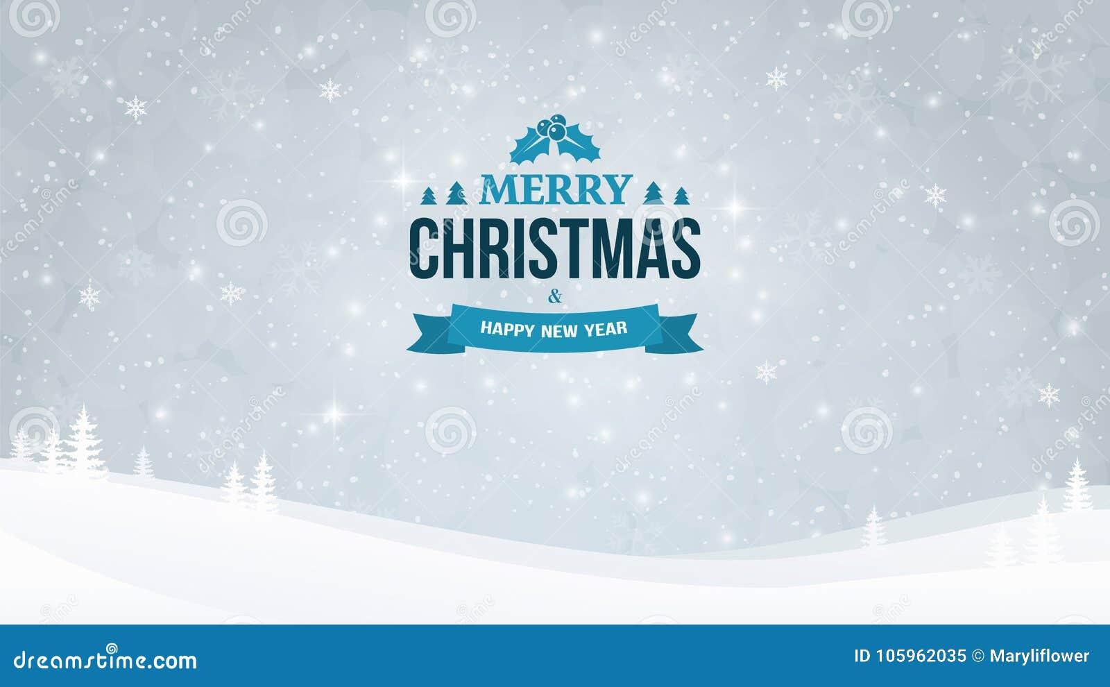 Het landschapsachtergrond van de de winteravond met sneeuwval en bomen Kerstmis en Nieuwjaar Typografisch uitstekend kenteken