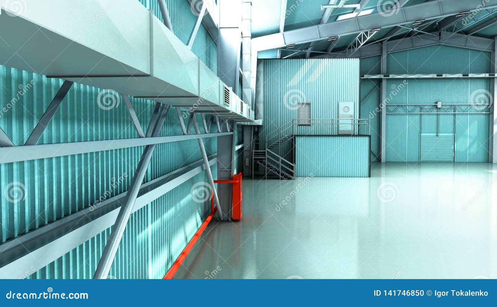 Het lege 3d pakhuis van de Hangaarlevering geeft illustratie terug