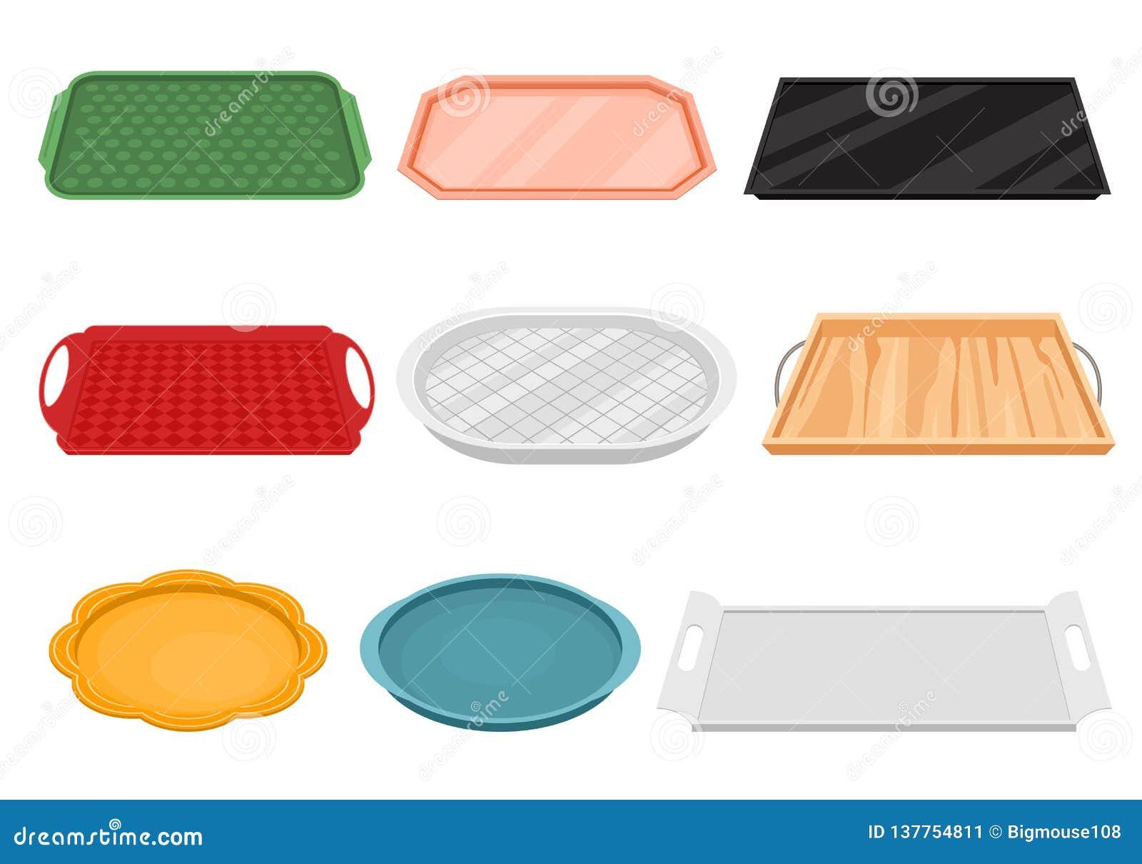 Het Lege Voedsel Tray Icon Set van de beeldverhaalkleur Vector