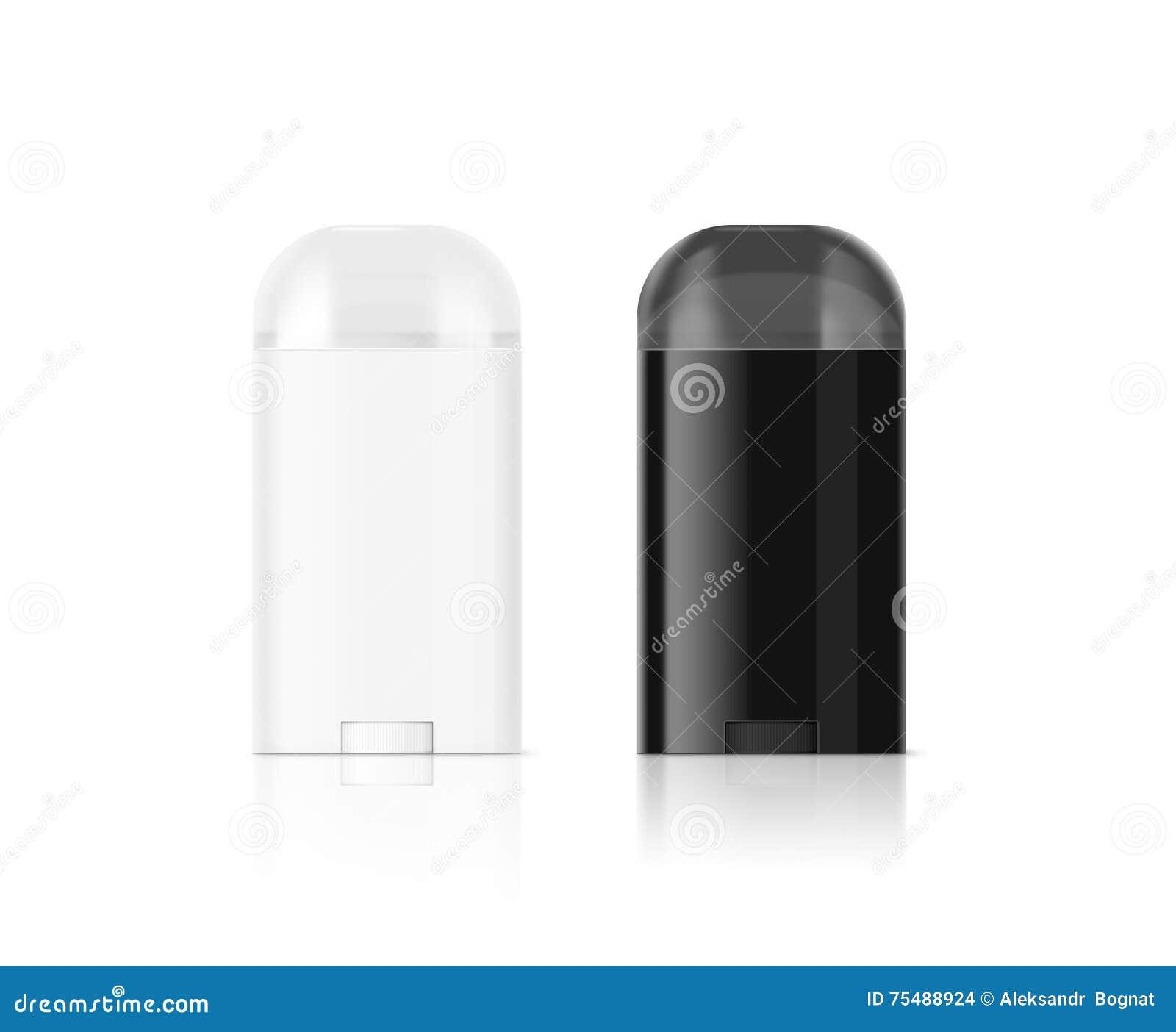 Het lege witte en zwarte model van de geurbestrijdende stokfles, het knippen weg