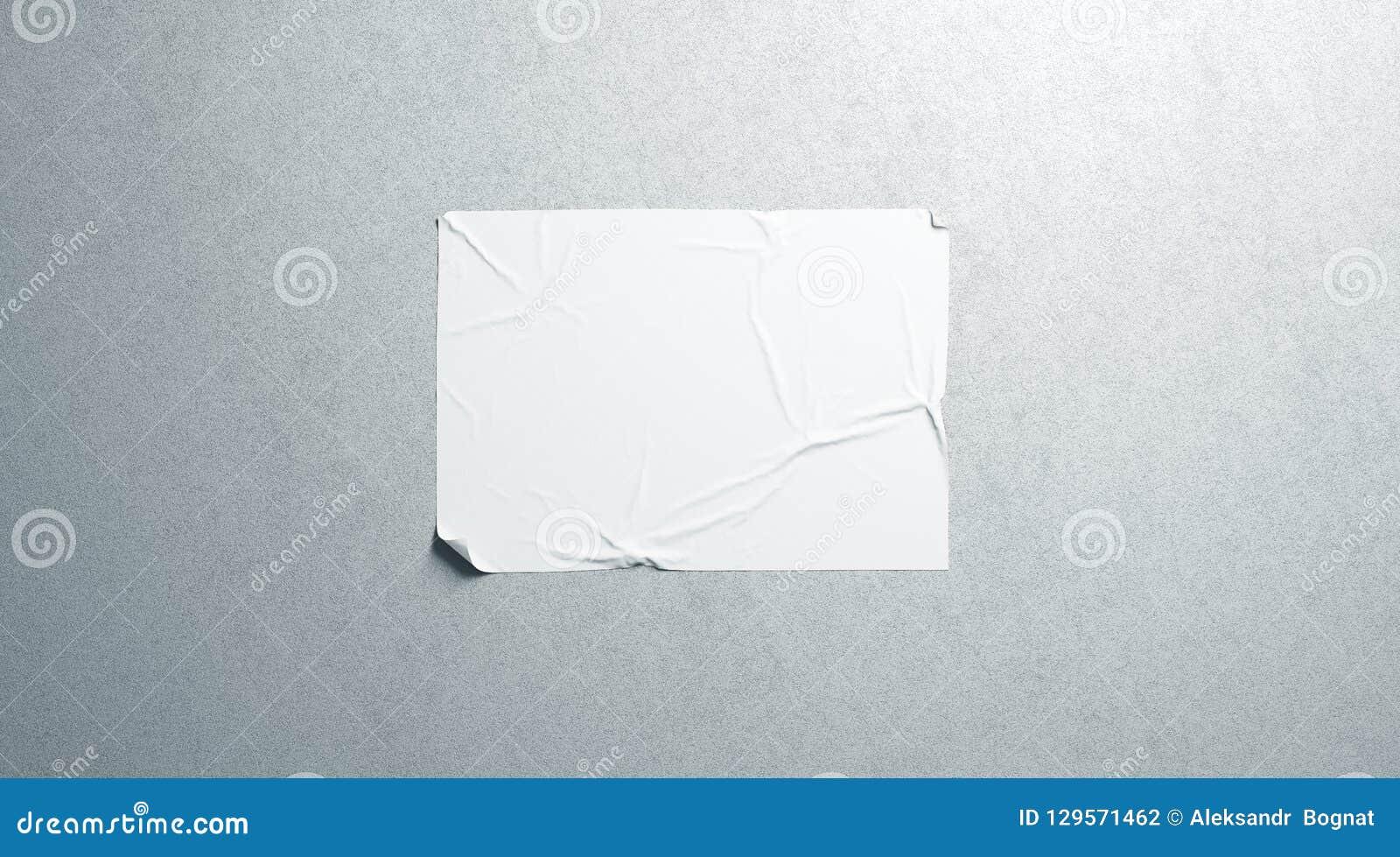 Het lege witte model van de wheatpaste zelfklevende horizontale affiche op geweven muur
