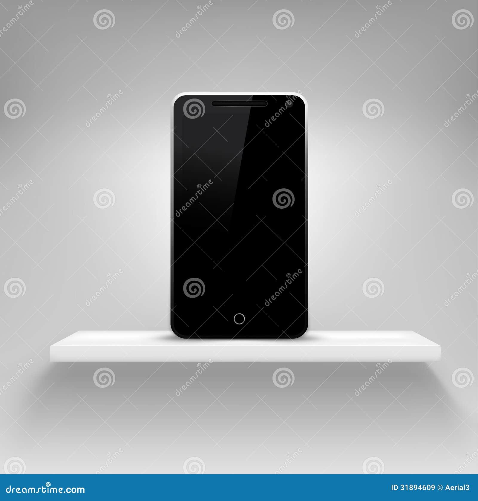 Plank Aan Muur Hangen.Het Lege Witte Plank Hangen Op Een Muur Vector Illustratie