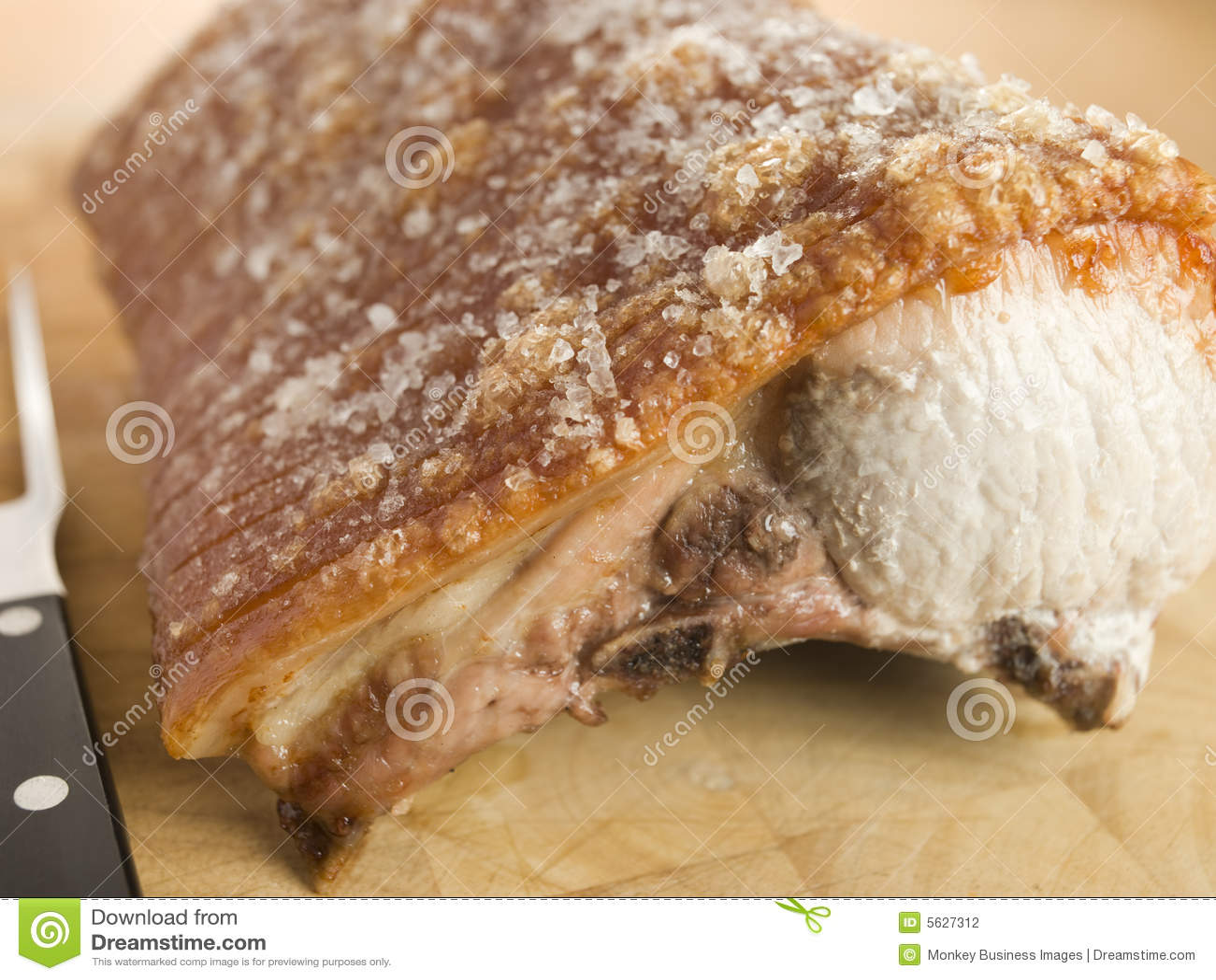 Het Lendestuk van het braadstuk van Brits Varkensvlees met Geknetter