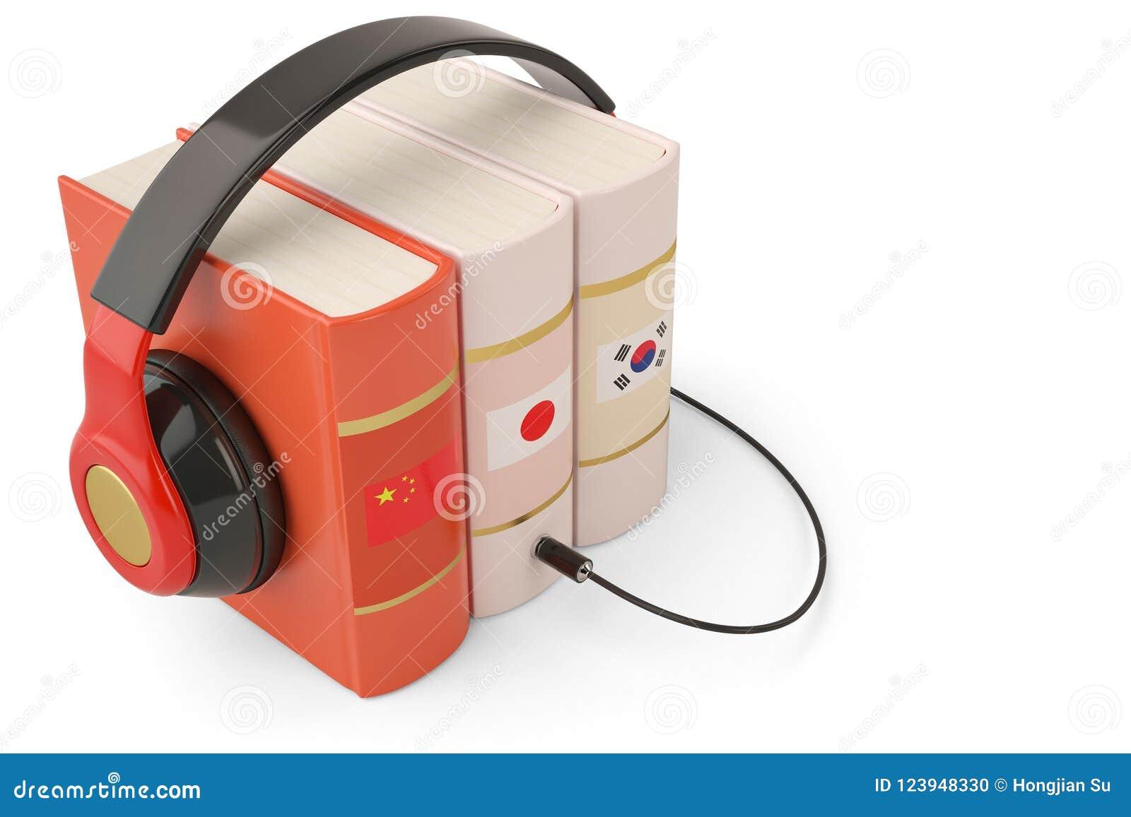 Het leren het conceptenboeken en hoofdtelefoon van talen online audiobooks