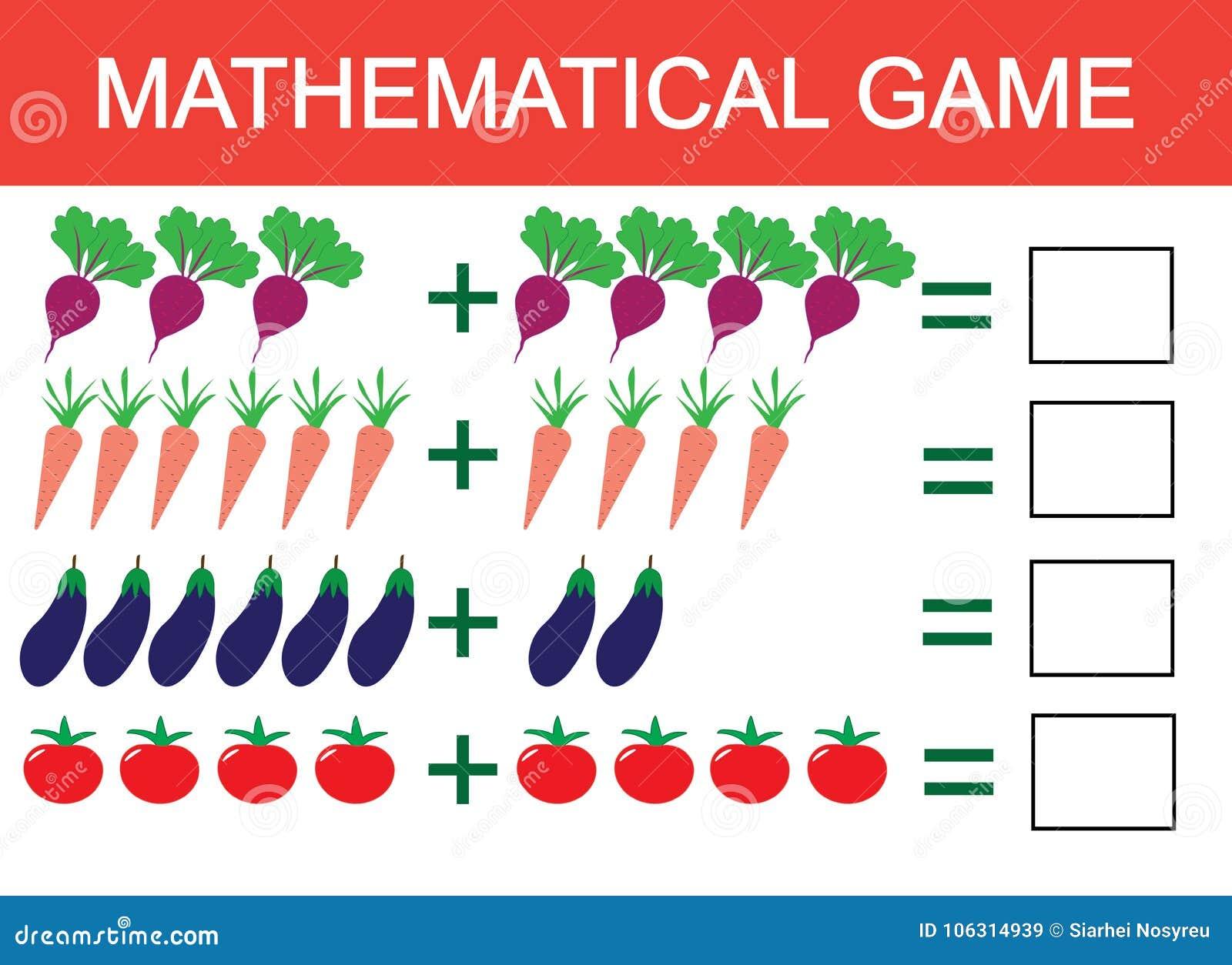 Het leren toevoeging door voorbeeld van groenten voor kinderen, tellende activiteit Wiskunde onderwijsspel voor kinderen Vector I