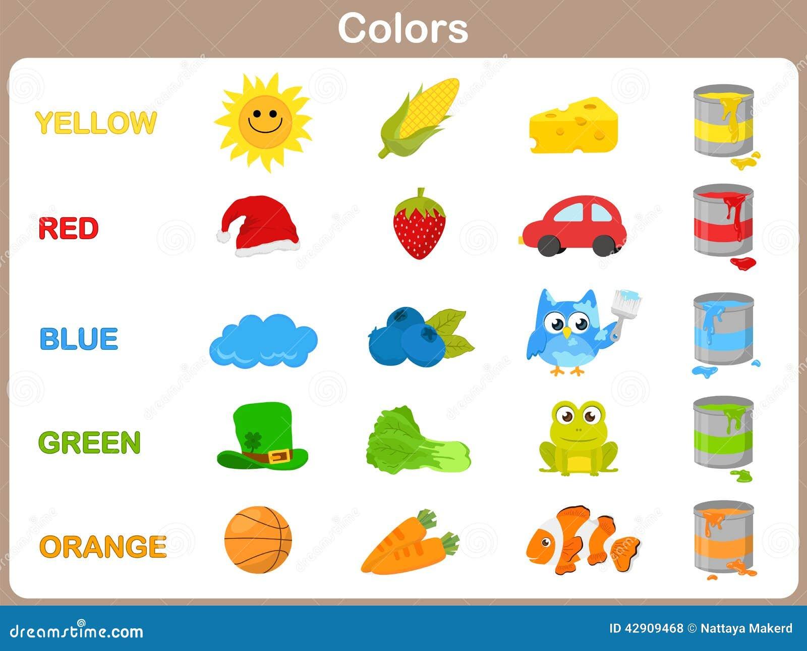 Het Leren Van De Objecten Kleuren Voor Jonge Geitjes Vector Illustratie - Afbeelding: 42909468
