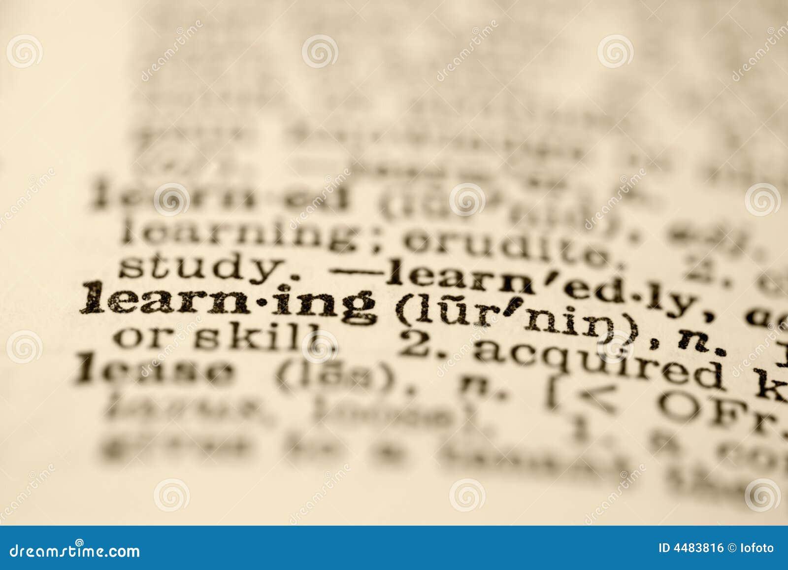 Het leren in woordenboek.
