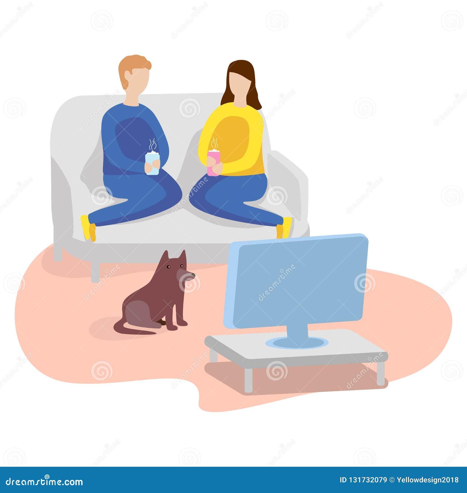Het letten op TV thuis Man, vrouw en hond Vlakke illustratie