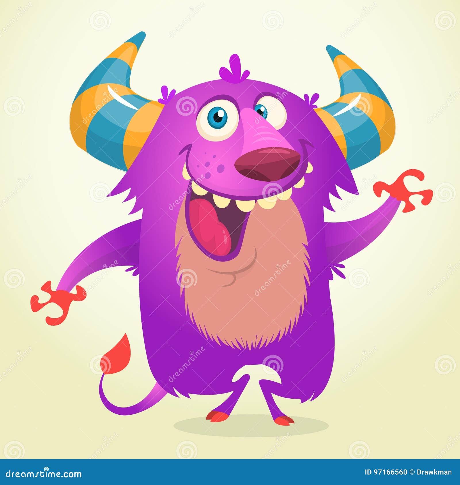 Het leuke beeldverhaal violette gehoornde en pluizige monster glimlachen De vectorillustratie van Halloween