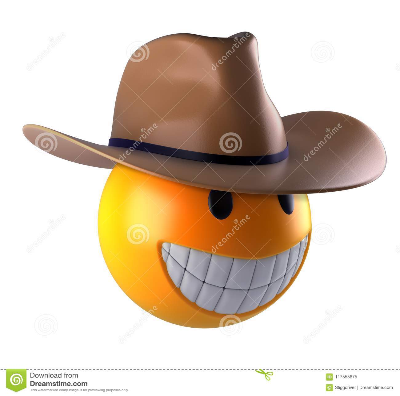 Het leuke gebied van Glimlachemoji met cowboyhoed