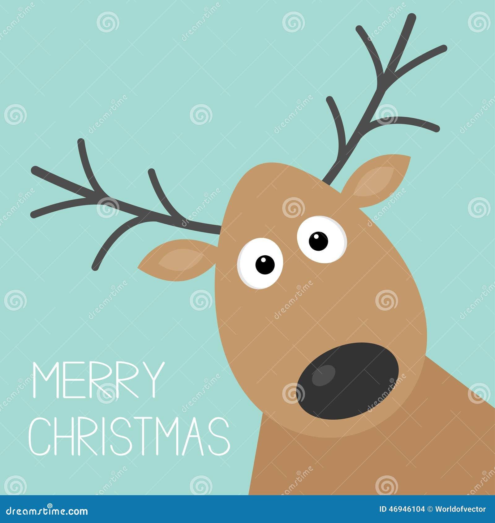 Het leuke gezicht van beeldverhaalherten met van achtergrond hoorn Vrolijk Kerstmis kaart Vlak ontwerp