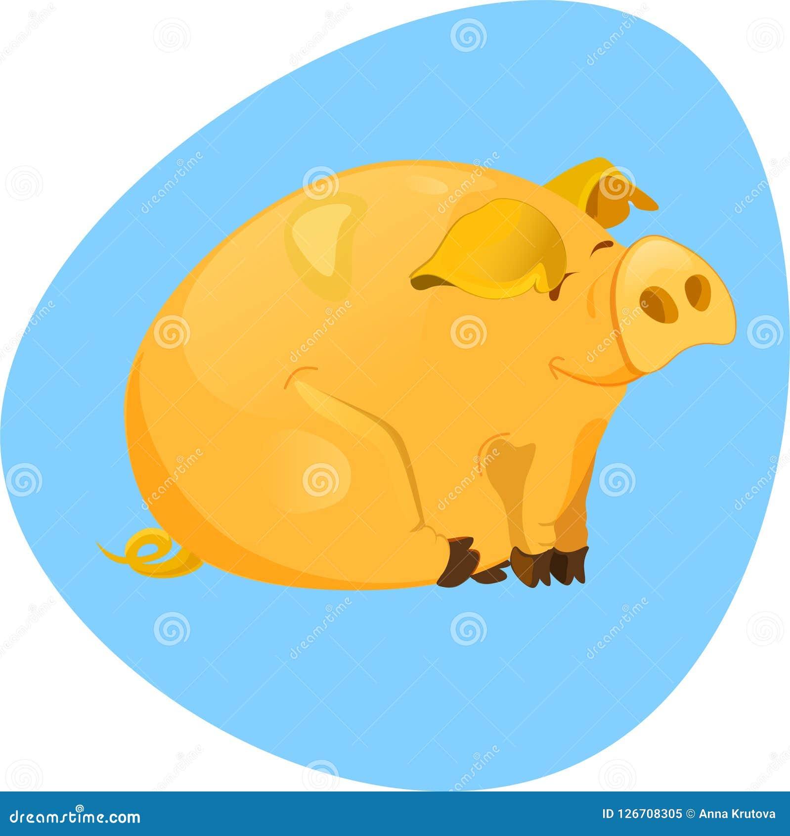 Het leuke glimlachen piggy met grote oren Vector illustratie