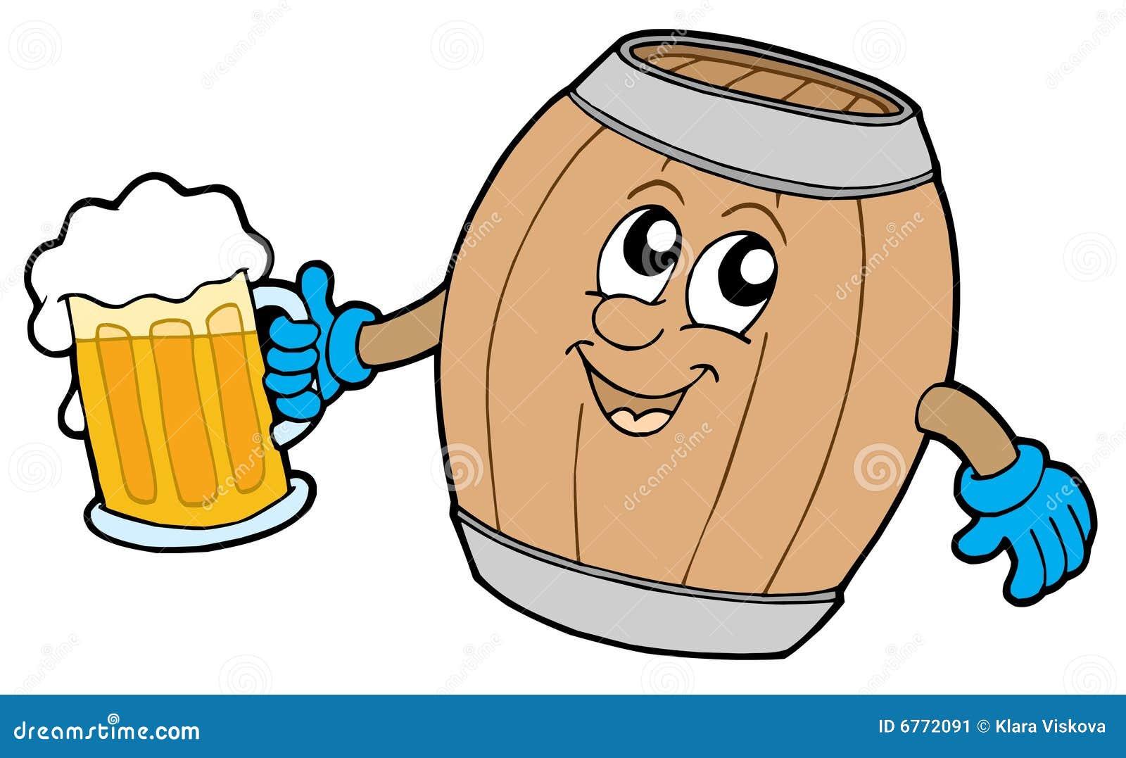 Het leuke houten bier van de vaatjeholding stock afbeelding afbeelding 6772091 - Afbeelding in ...