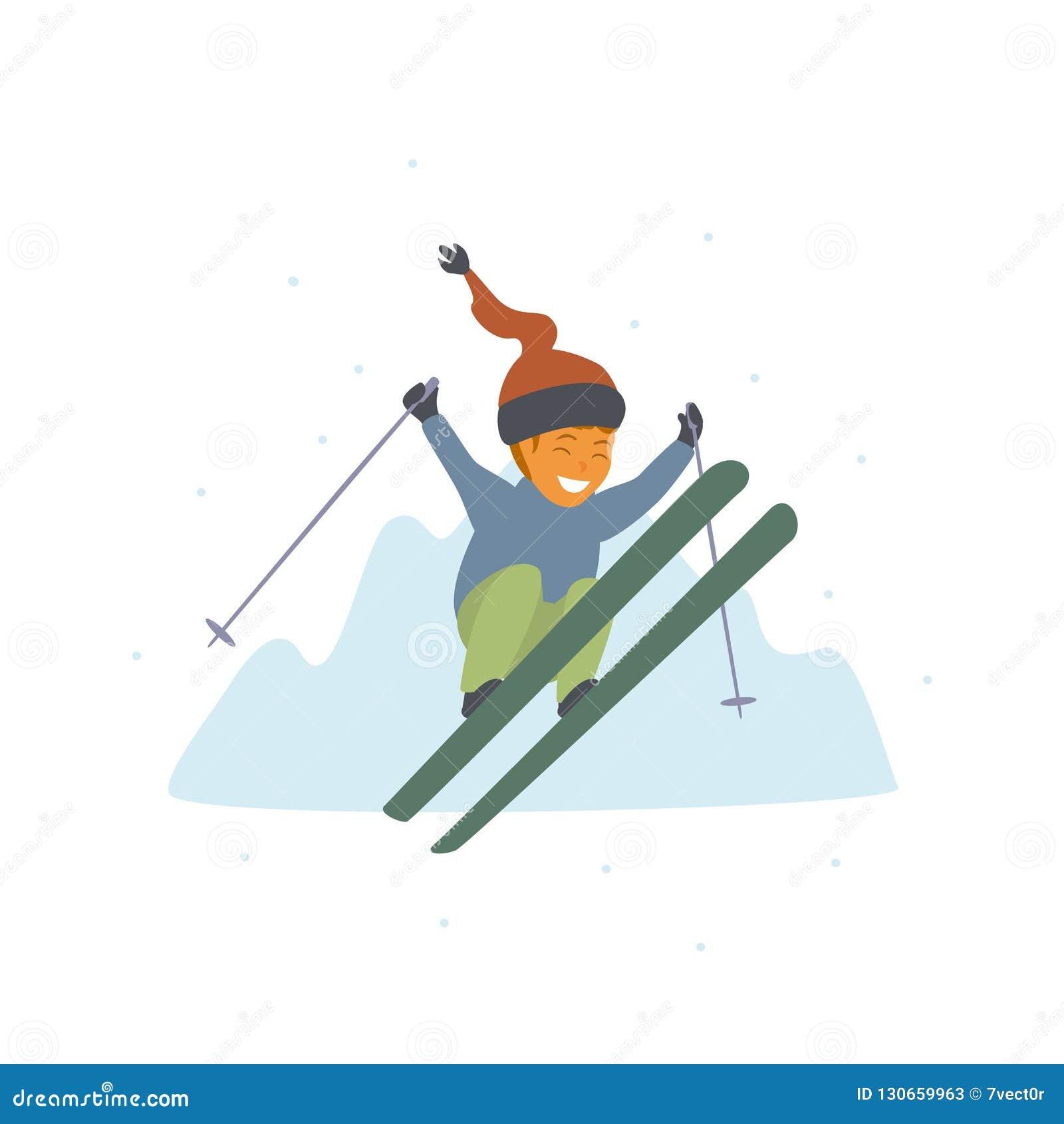 Het leuke jongen ski?en die hoog bij de geïsoleerde vectorillustratie van de winterbergen toevlucht springen