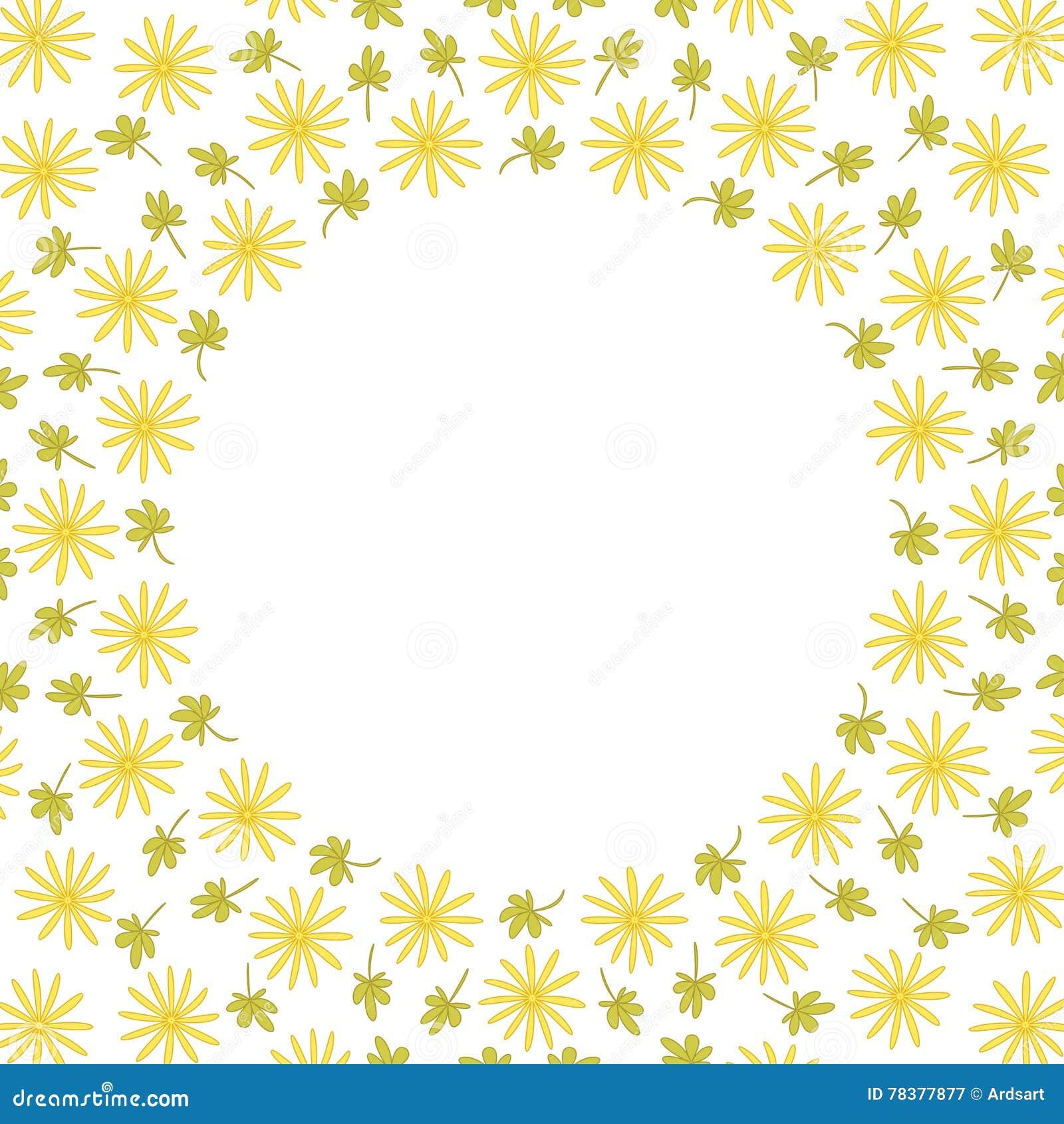 Het leuke kader van de achtergrondcirkelgrens met bloemen en bladeren