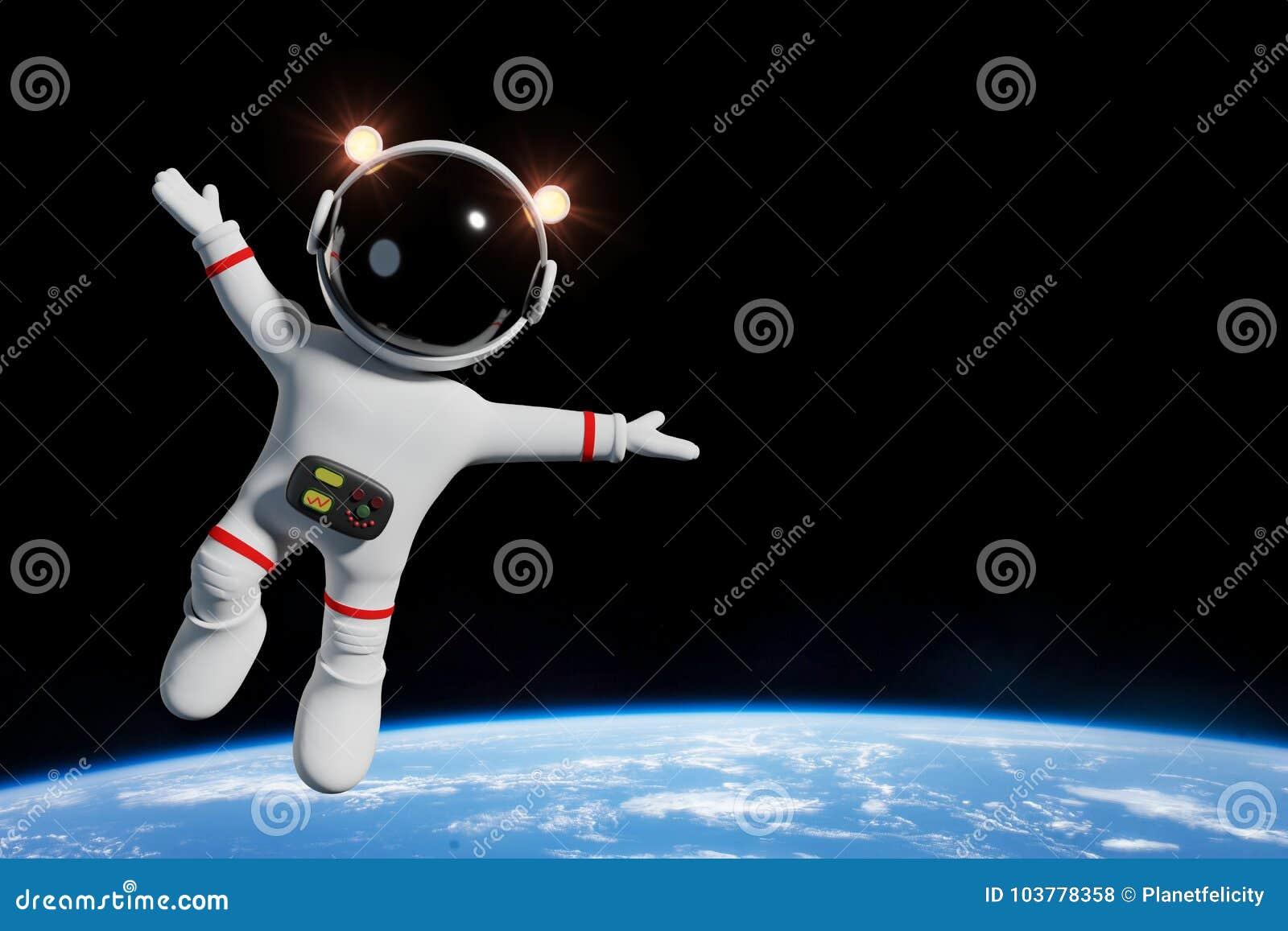 Het leuke karakter van de beeldverhaalastronaut in baan van de aarde 3d illustratie