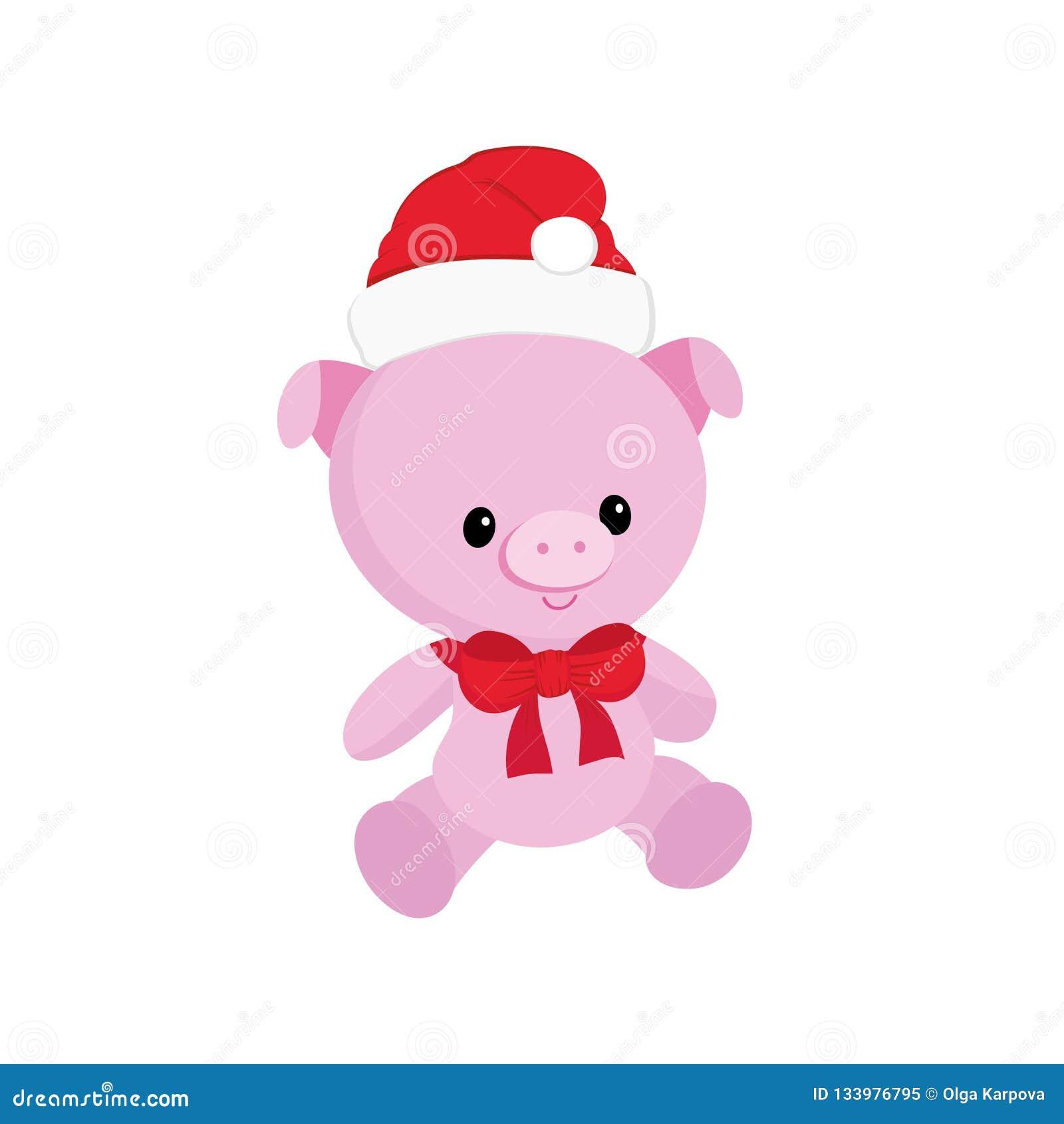 Het leuke karakter van het het symbool 2019 kleine biggetje van het varkens Nieuwe jaar, piggy jongen, in rode hoed, pluchestuk s