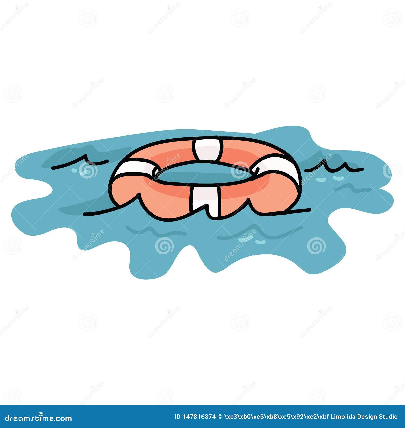 Het leuke lifering op reeks van het de illustratiemotief van het waterbeeldverhaal de vector Hand getrokken geïsoleerde reddingsb