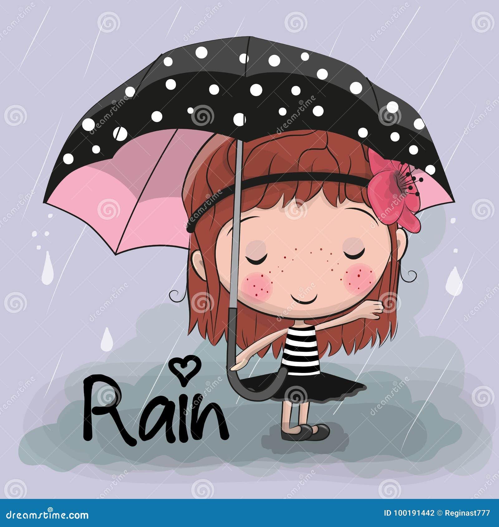 Het leuke meisje van het beeldverhaalmeisje met een paraplu