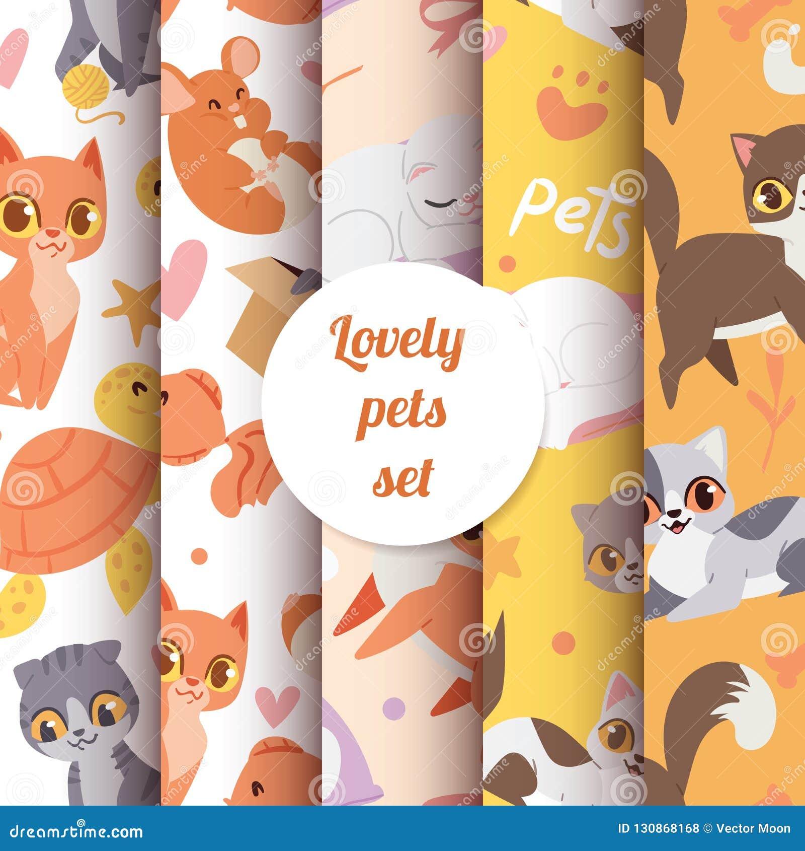 Het leuke naadloze patroon van dierenkatten met de mooie vectorillustratie van karaktershuisdieren