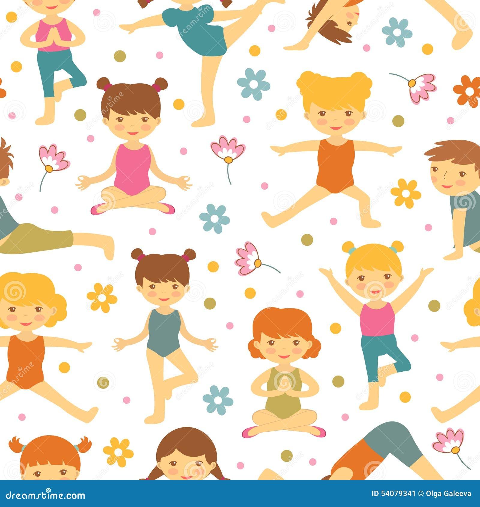 Het leuke naadloze patroon van yogajonge geitjes