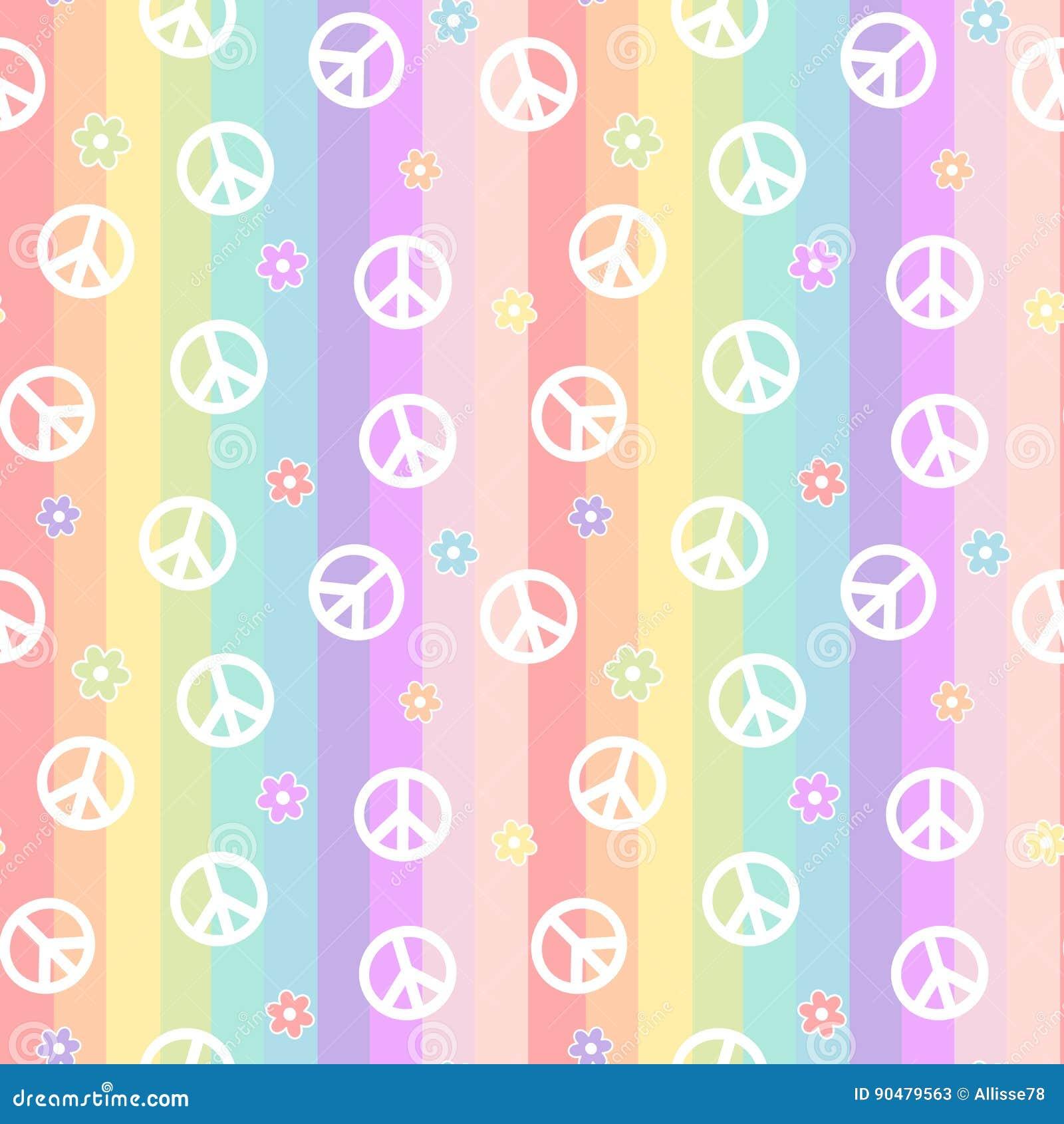 Het leuke witte vredessymbool met madeliefje bloeit op het patroon van regenboog kleurrijke strepen naadloze illustratie als acht