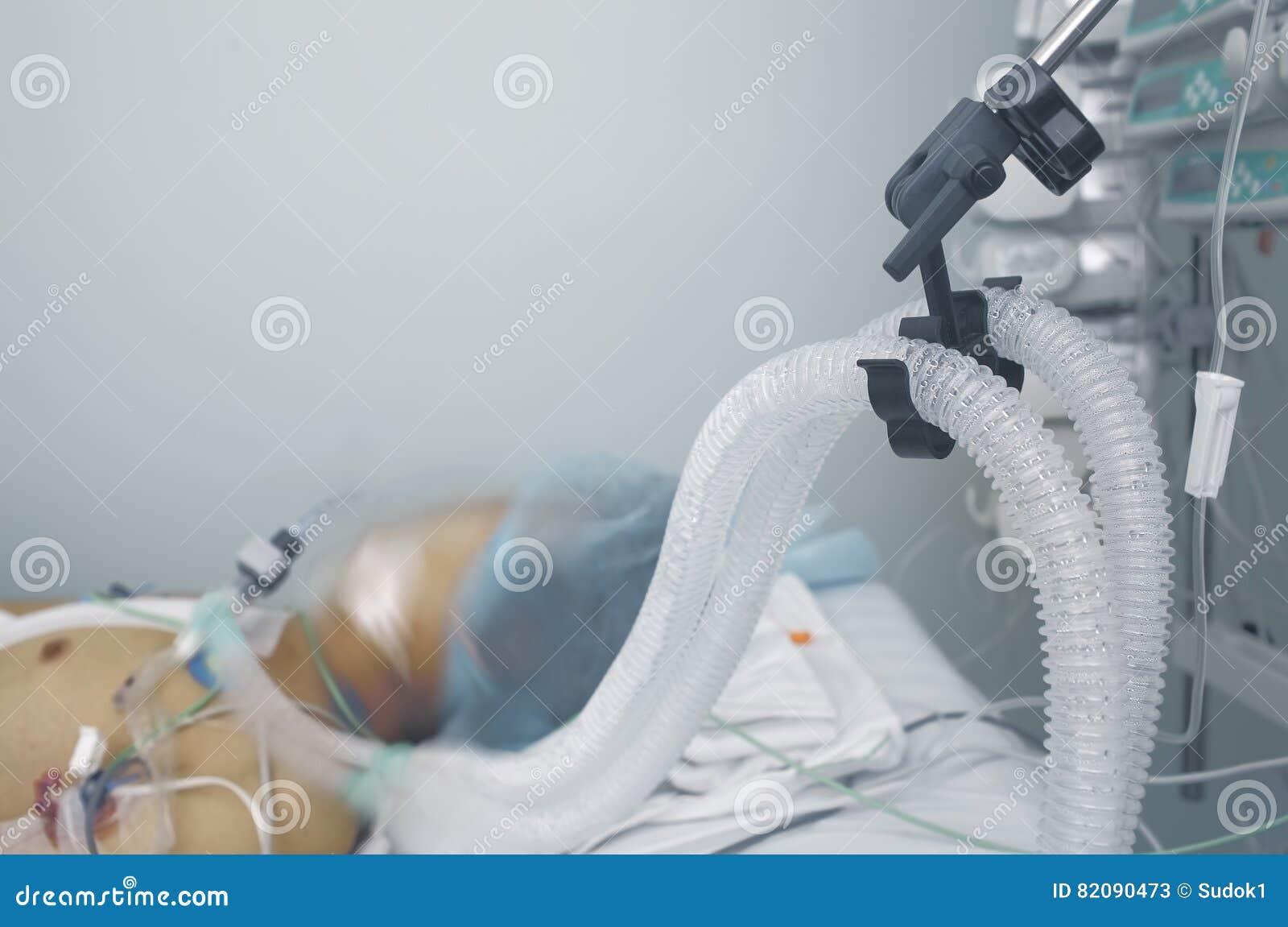 Het levenssteun van de patiënt Foto met ruimte voor tekst