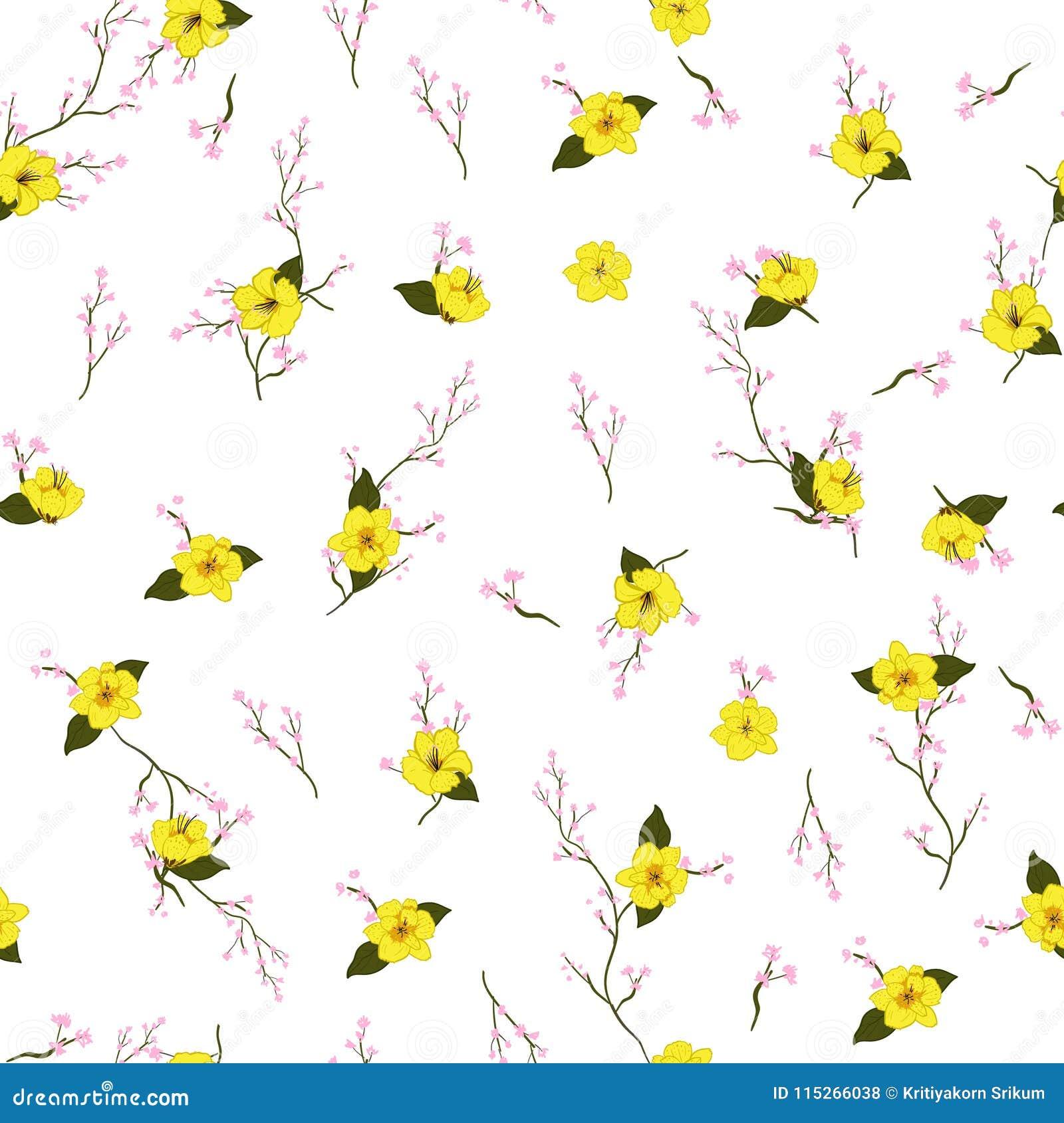 Het lichte gele Bloemenpatroon van de de Zomer verse Bloesem in bloomin