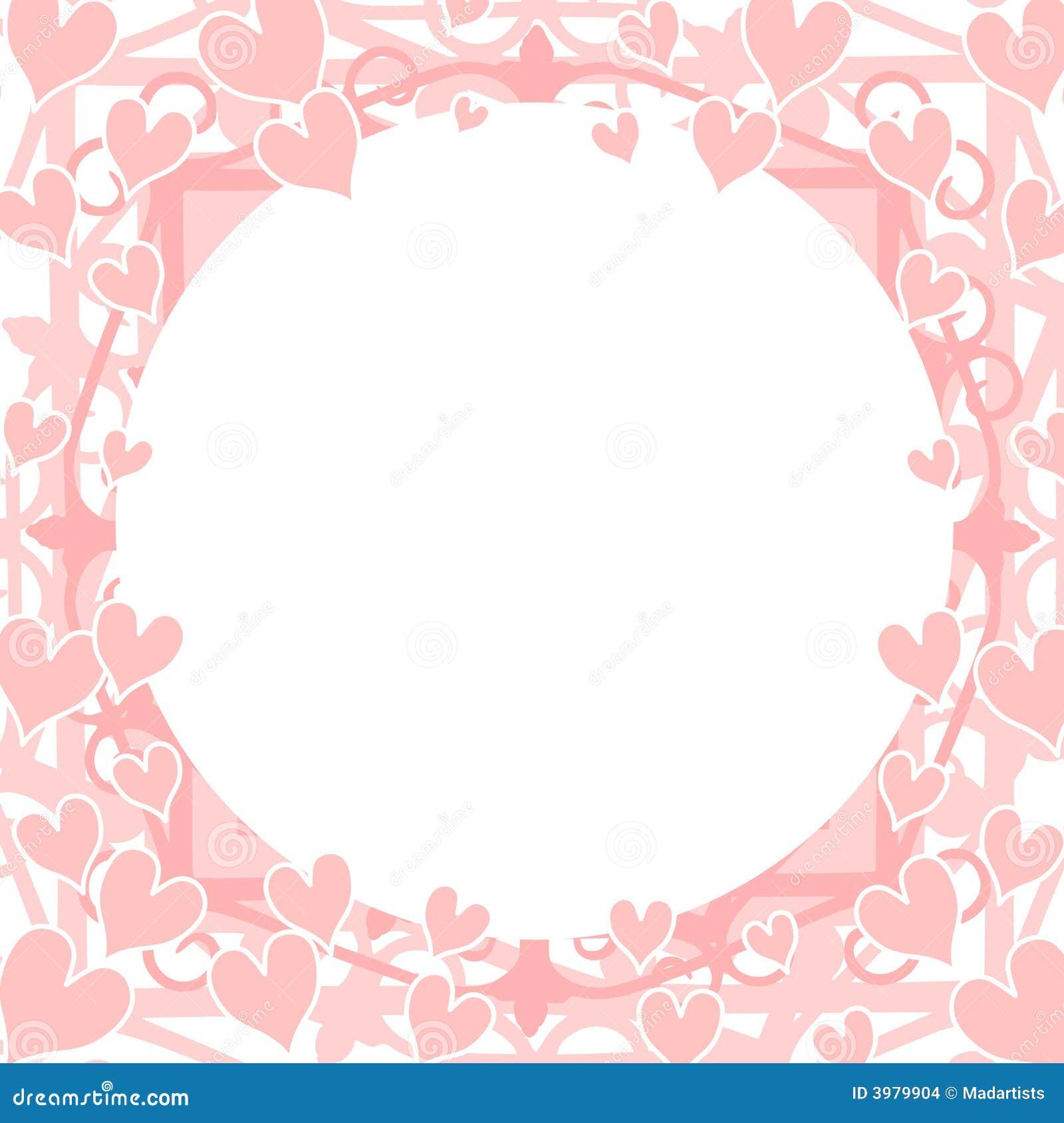 Het Lichtrose Cirkel Ronde Frame Van Harten Stock